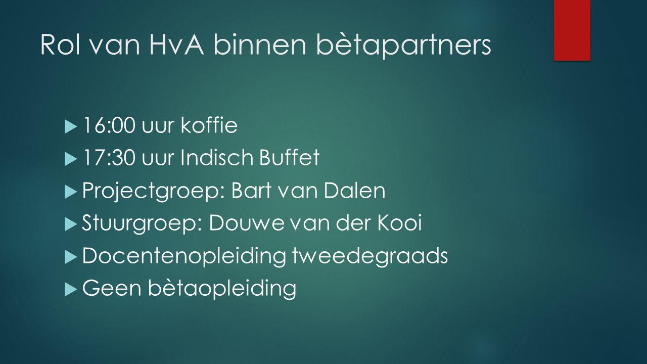 Rol van HvA binnen bètapartners  16:00 uur koffie  17:30 uur Indisch Buffet  Projectgroep: Bart van Dalen  Stuurgroep: Douwe van der Kooi  Docent