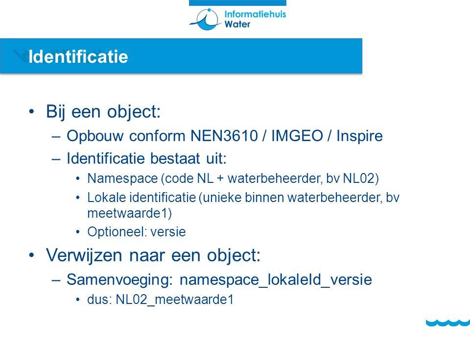 Identificatie Bij een object: –Opbouw conform NEN3610 / IMGEO / Inspire –Identificatie bestaat uit: Namespace (code NL + waterbeheerder, bv NL02) Lokale identificatie (unieke binnen waterbeheerder, bv meetwaarde1) Optioneel: versie Verwijzen naar een object: –Samenvoeging: namespace_lokaleId_versie dus: NL02_meetwaarde1