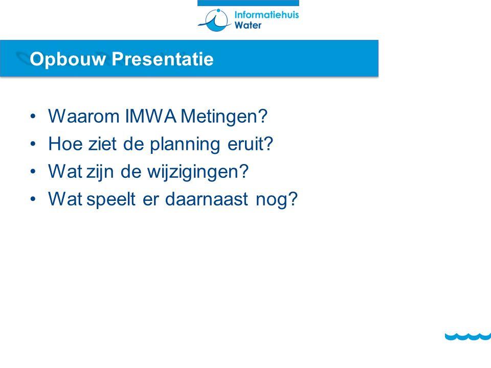 Opbouw Presentatie Waarom IMWA Metingen. Hoe ziet de planning eruit.