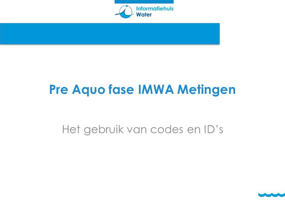 Pre Aquo fase IMWA Metingen Het gebruik van codes en ID's
