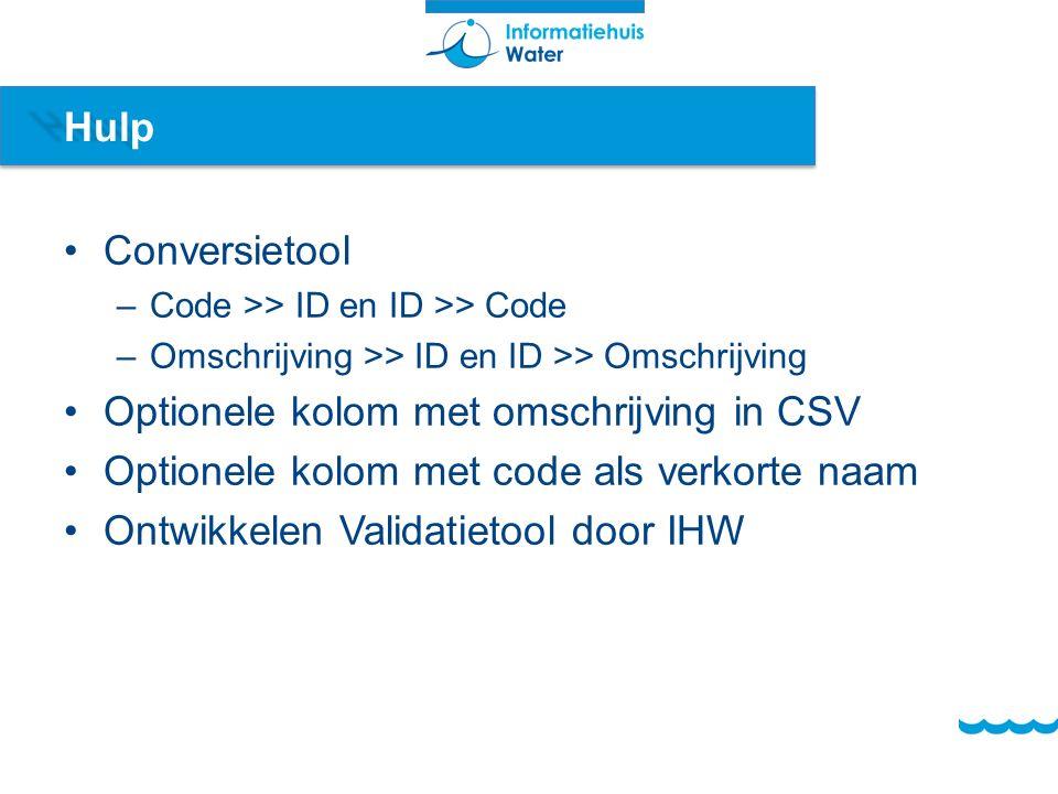 Hulp Conversietool –Code >> ID en ID >> Code –Omschrijving >> ID en ID >> Omschrijving Optionele kolom met omschrijving in CSV Optionele kolom met code als verkorte naam Ontwikkelen Validatietool door IHW