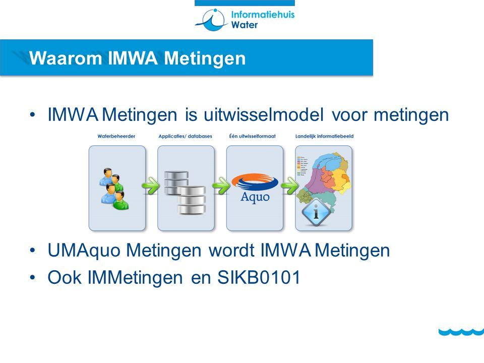 Waarom IMWA Metingen IMWA Metingen is uitwisselmodel voor metingen UMAquo Metingen wordt IMWA Metingen Ook IMMetingen en SIKB0101
