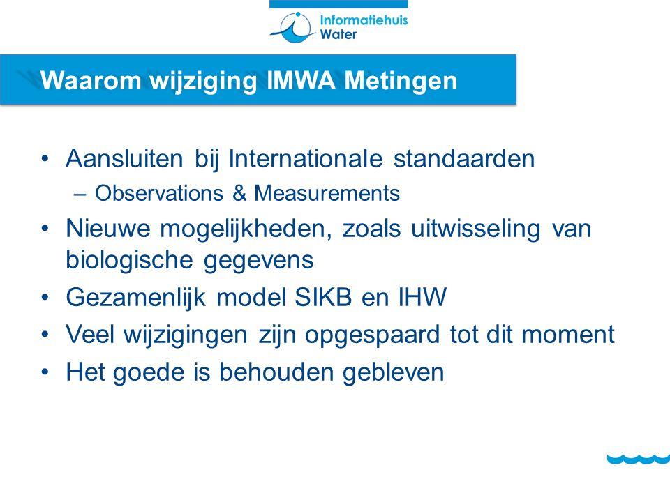 Waarom wijziging IMWA Metingen Aansluiten bij Internationale standaarden –Observations & Measurements Nieuwe mogelijkheden, zoals uitwisseling van biologische gegevens Gezamenlijk model SIKB en IHW Veel wijzigingen zijn opgespaard tot dit moment Het goede is behouden gebleven