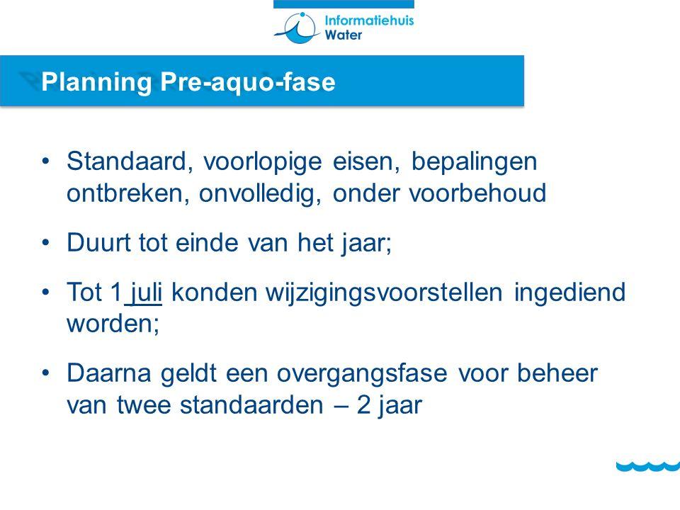 Planning Pre-aquo-fase Standaard, voorlopige eisen, bepalingen ontbreken, onvolledig, onder voorbehoud Duurt tot einde van het jaar; Tot 1 juli konden wijzigingsvoorstellen ingediend worden; Daarna geldt een overgangsfase voor beheer van twee standaarden – 2 jaar
