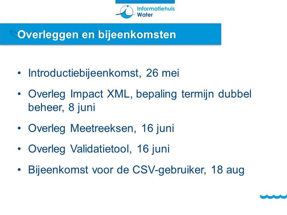 Overleggen en bijeenkomsten Introductiebijeenkomst, 26 mei Overleg Impact XML, bepaling termijn dubbel beheer, 8 juni Overleg Meetreeksen, 16 juni Overleg Validatietool, 16 juni Bijeenkomst voor de CSV-gebruiker, 18 aug