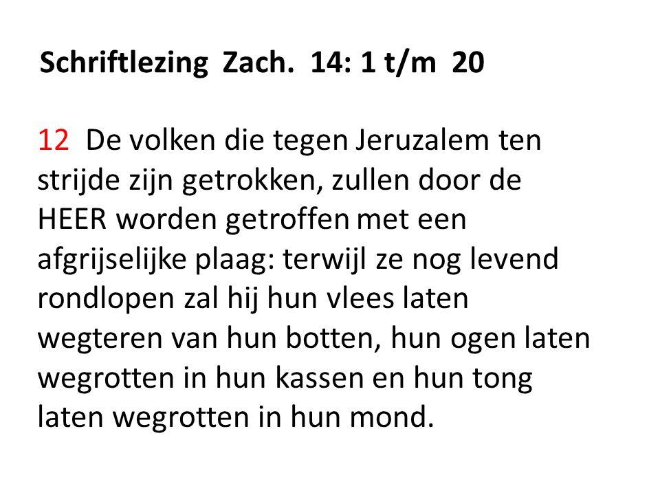 Schriftlezing Zach. 14: 1 t/m 20 12 De volken die tegen Jeruzalem ten strijde zijn getrokken, zullen door de HEER worden getroffen met een afgrijselij