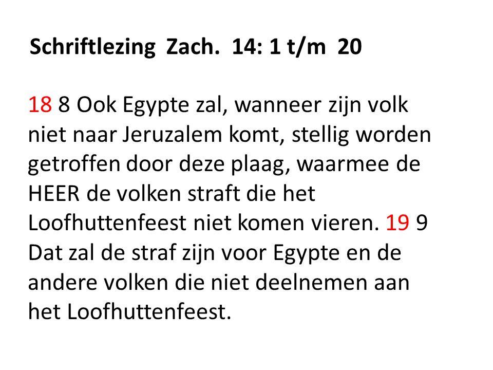 Schriftlezing Zach. 14: 1 t/m 20 18 8 Ook Egypte zal, wanneer zijn volk niet naar Jeruzalem komt, stellig worden getroffen door deze plaag, waarmee de