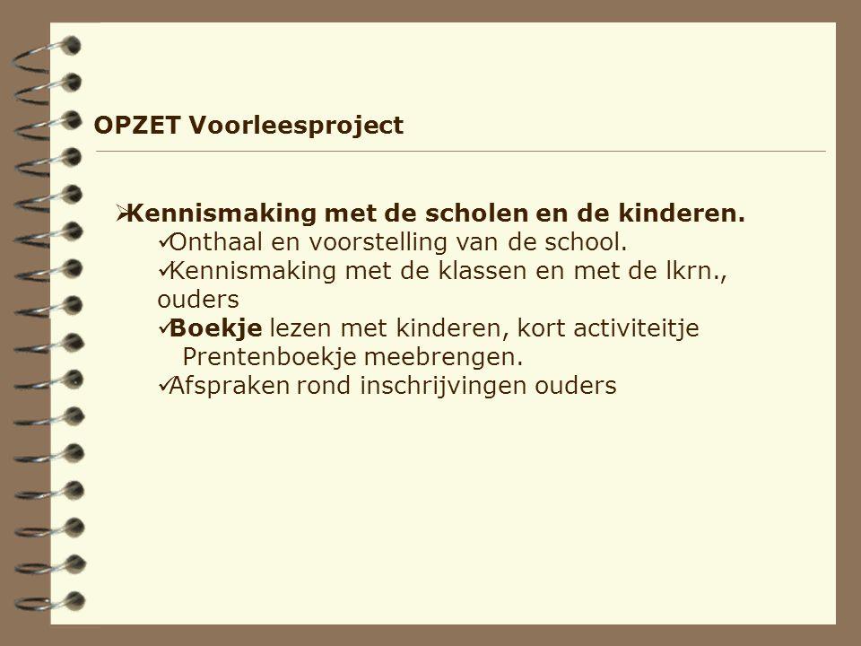 OPZET Voorleesproject  Kennismaking met de scholen en de kinderen.