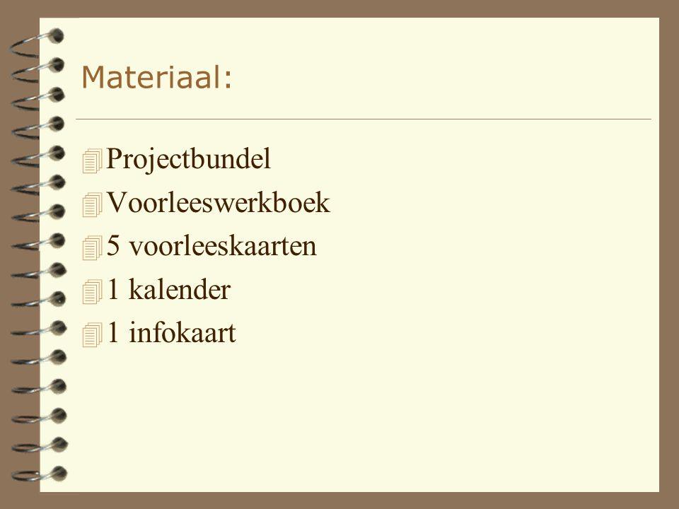 Materiaal: 4 Projectbundel 4 Voorleeswerkboek 4 5 voorleeskaarten 4 1 kalender 4 1 infokaart