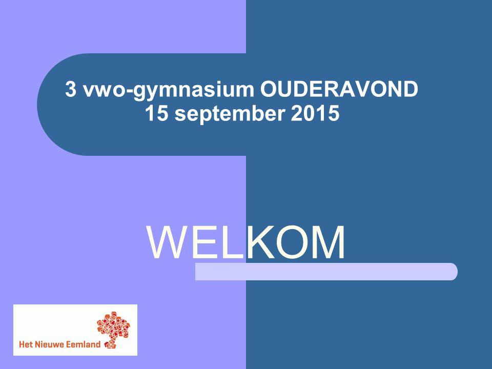 3 vwo-gymnasium OUDERAVOND 15 september 2015 WELKOM