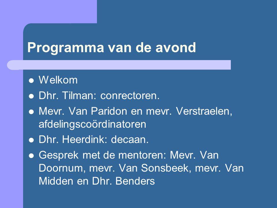 Programma van de avond Welkom Dhr. Tilman: conrectoren.