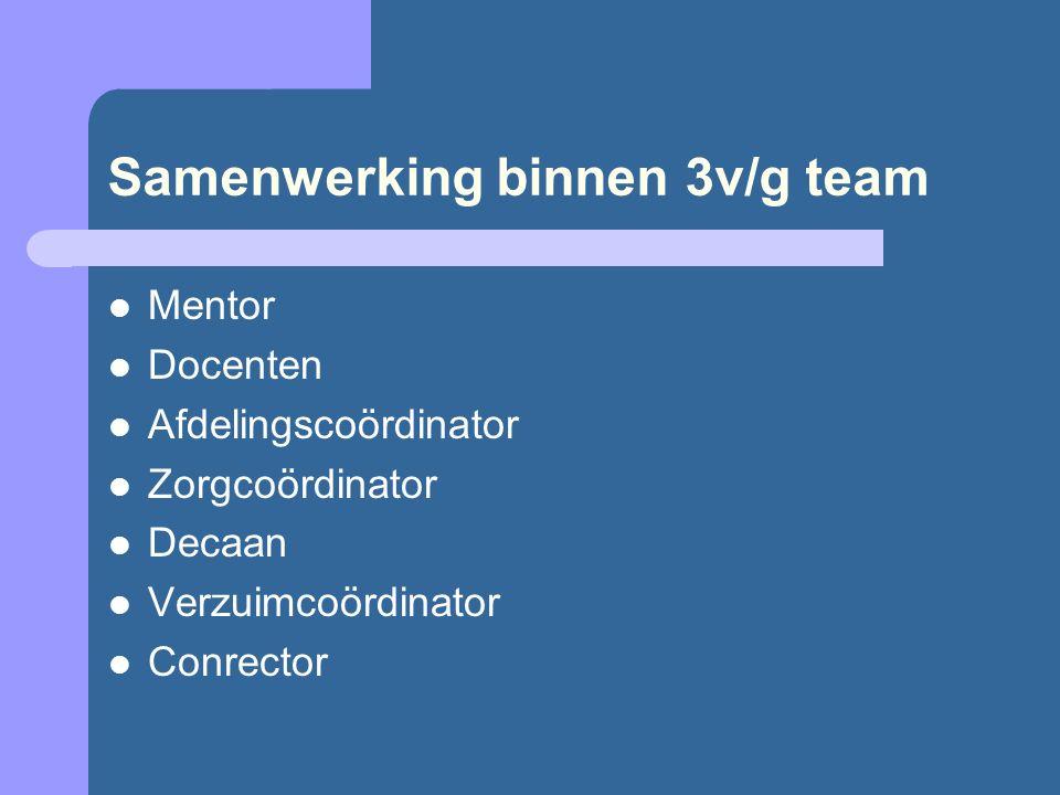 Samenwerking binnen 3v/g team Mentor Docenten Afdelingscoördinator Zorgcoördinator Decaan Verzuimcoördinator Conrector