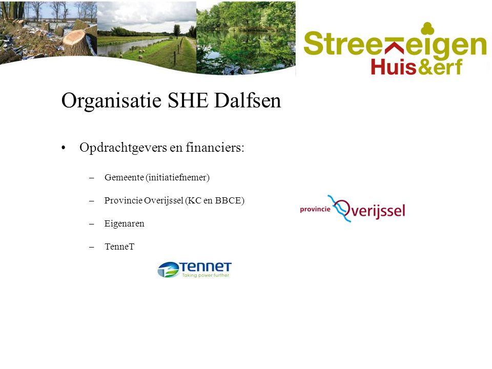 Organisatie SHE Dalfsen Opdrachtgevers en financiers: –Gemeente (initiatiefnemer) –Provincie Overijssel (KC en BBCE) –Eigenaren –TenneT