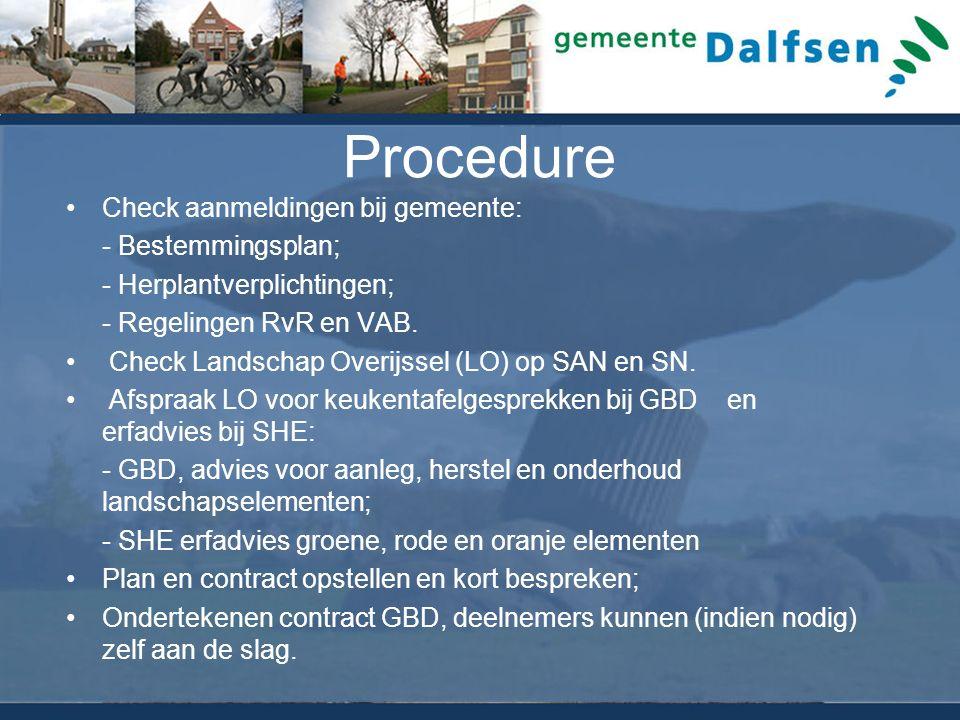 Procedure Check aanmeldingen bij gemeente: - Bestemmingsplan; - Herplantverplichtingen; - Regelingen RvR en VAB.