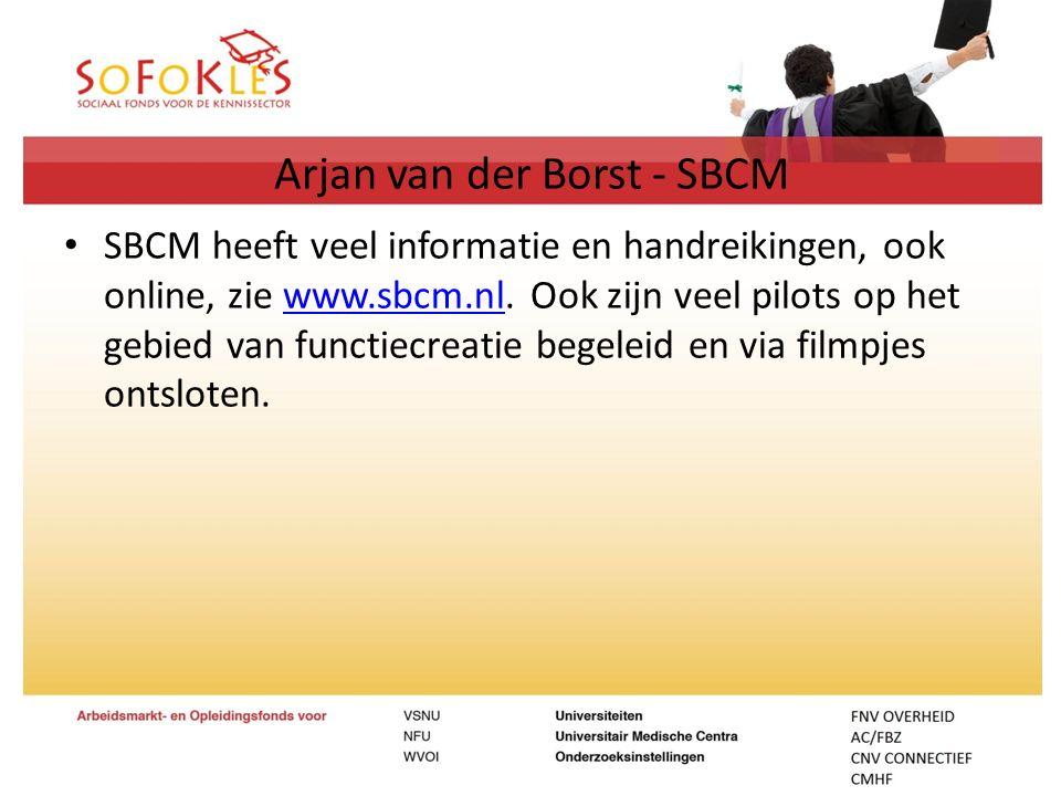 Arjan van der Borst - SBCM SBCM heeft veel informatie en handreikingen, ook online, zie www.sbcm.nl. Ook zijn veel pilots op het gebied van functiecre