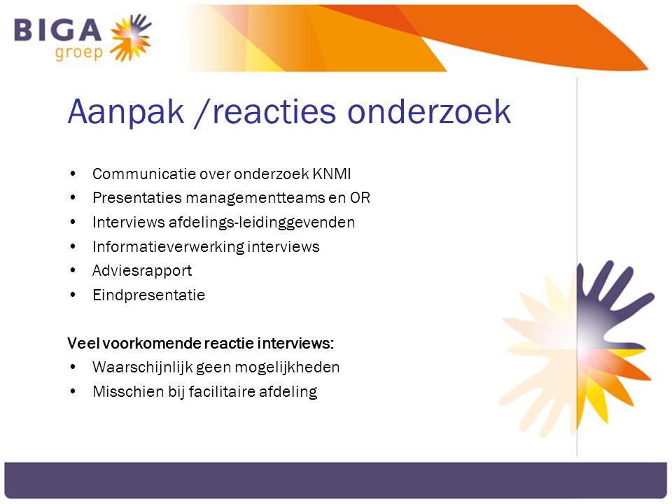 Aanpak /reacties onderzoek Communicatie over onderzoek KNMI Presentaties managementteams en OR Interviews afdelings-leidinggevenden Informatieverwerki