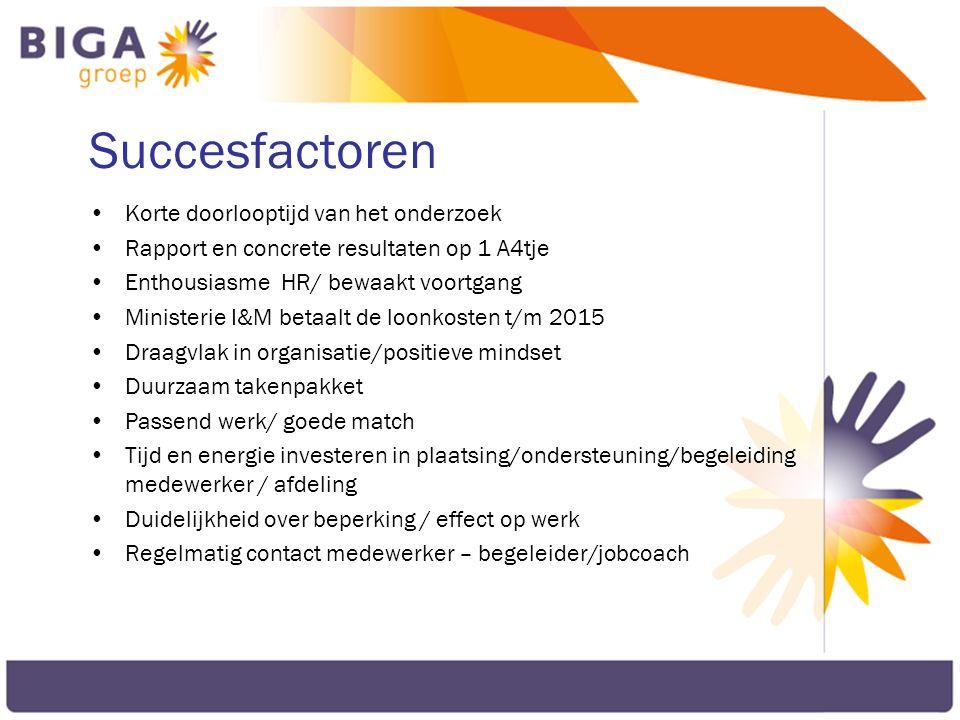 Succesfactoren Korte doorlooptijd van het onderzoek Rapport en concrete resultaten op 1 A4tje Enthousiasme HR/ bewaakt voortgang Ministerie I&M betaal