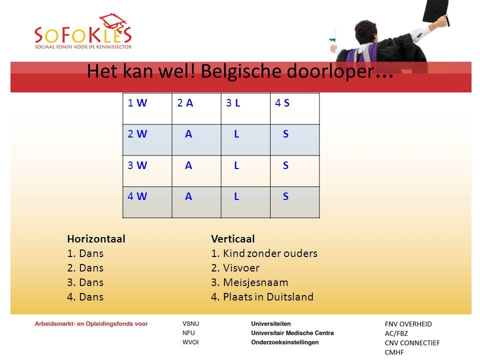 Het kan wel! Belgische doorloper … 1 W2 A3 L4 S 2 W A L S 3 W A L S 4 W A L S HorizontaalVerticaal 1. Dans1. Kind zonder ouders 2. Dans2. Visvoer 3. D