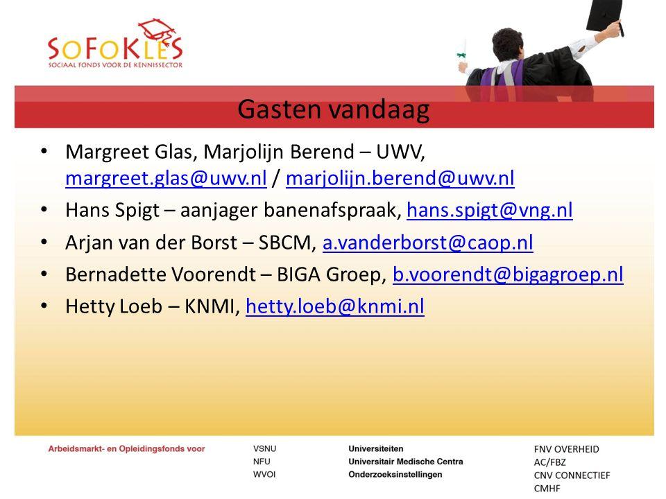 Gasten vandaag Margreet Glas, Marjolijn Berend – UWV, margreet.glas@uwv.nl / marjolijn.berend@uwv.nl margreet.glas@uwv.nlmarjolijn.berend@uwv.nl Hans