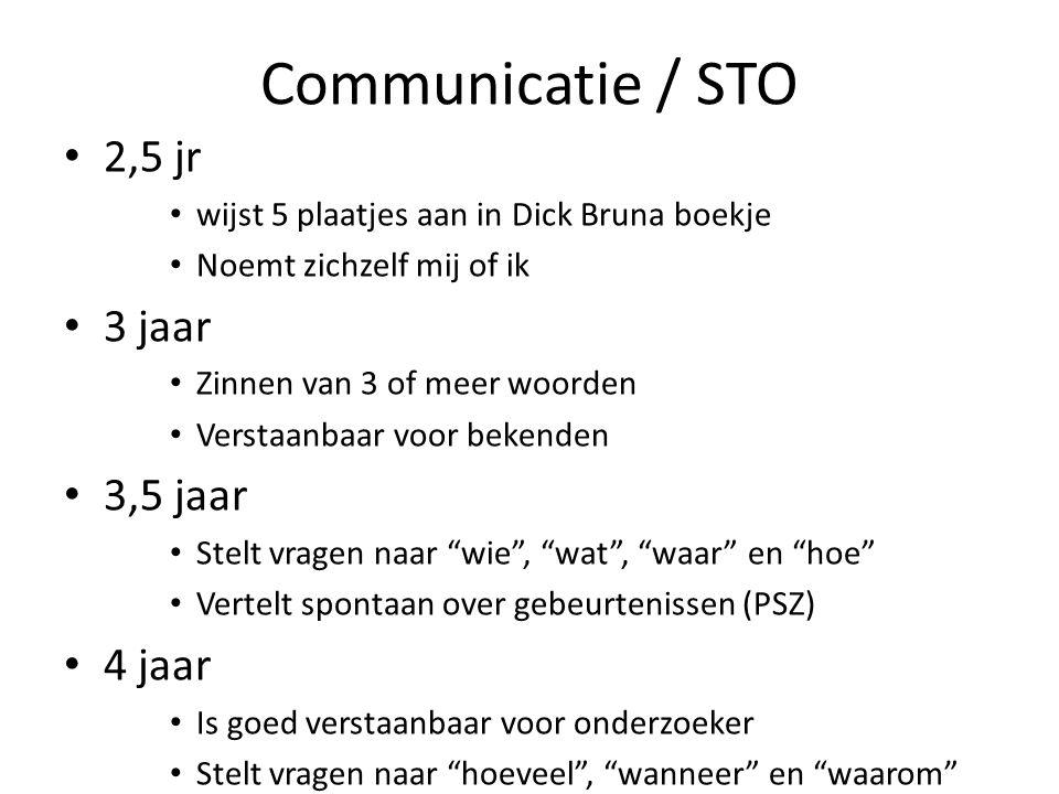 Communicatie / STO 2,5 jr wijst 5 plaatjes aan in Dick Bruna boekje Noemt zichzelf mij of ik 3 jaar Zinnen van 3 of meer woorden Verstaanbaar voor bek