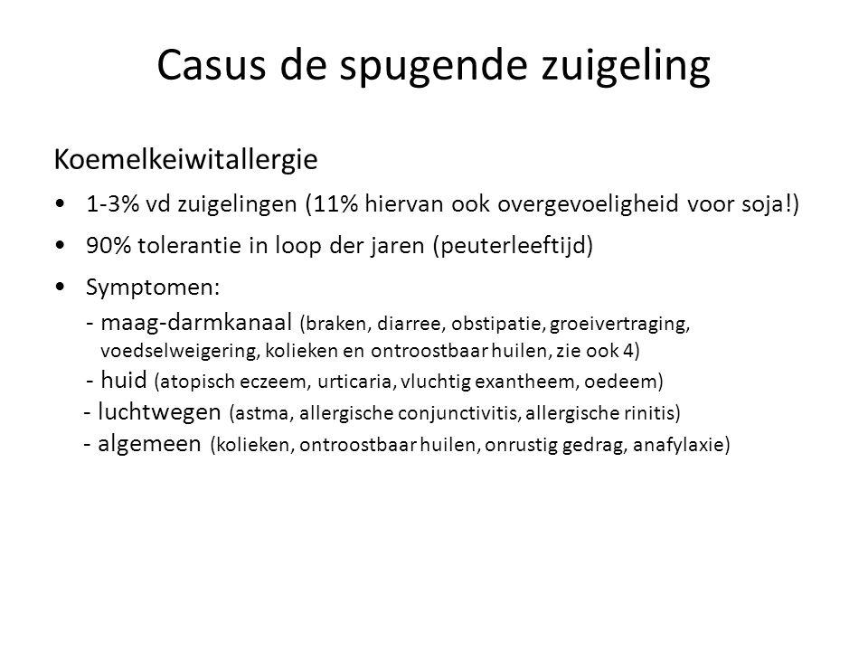 Casus de spugende zuigeling Koemelkeiwitallergie 1-3% vd zuigelingen (11% hiervan ook overgevoeligheid voor soja!) 90% tolerantie in loop der jaren (p