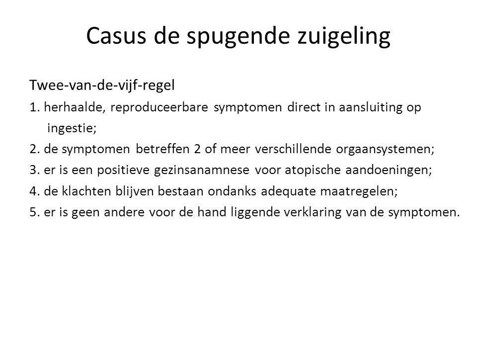 Casus de spugende zuigeling Twee-van-de-vijf-regel 1. herhaalde, reproduceerbare symptomen direct in aansluiting op ingestie; 2. de symptomen betreffe
