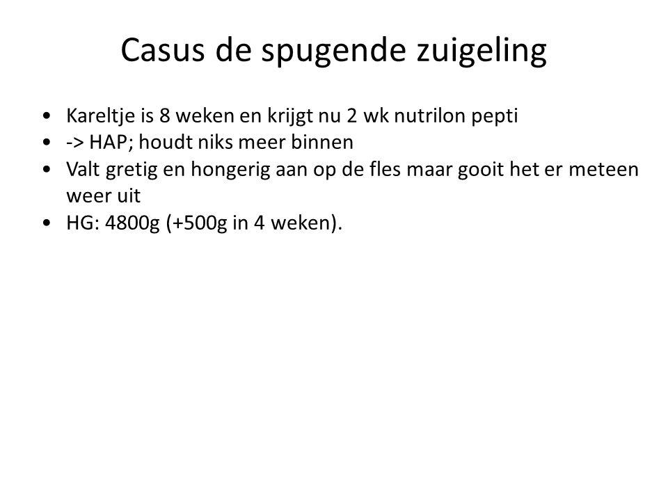 Casus de spugende zuigeling Kareltje is 8 weken en krijgt nu 2 wk nutrilon pepti -> HAP; houdt niks meer binnen Valt gretig en hongerig aan op de fles