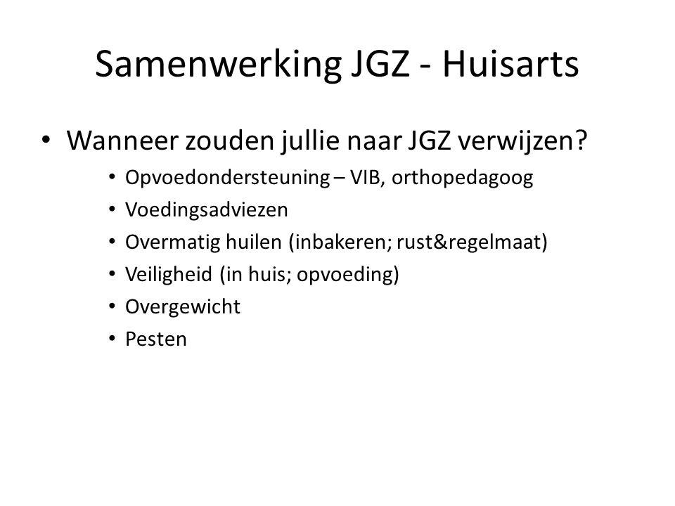 Samenwerking JGZ - Huisarts Wanneer zouden jullie naar JGZ verwijzen? Opvoedondersteuning – VIB, orthopedagoog Voedingsadviezen Overmatig huilen (inba