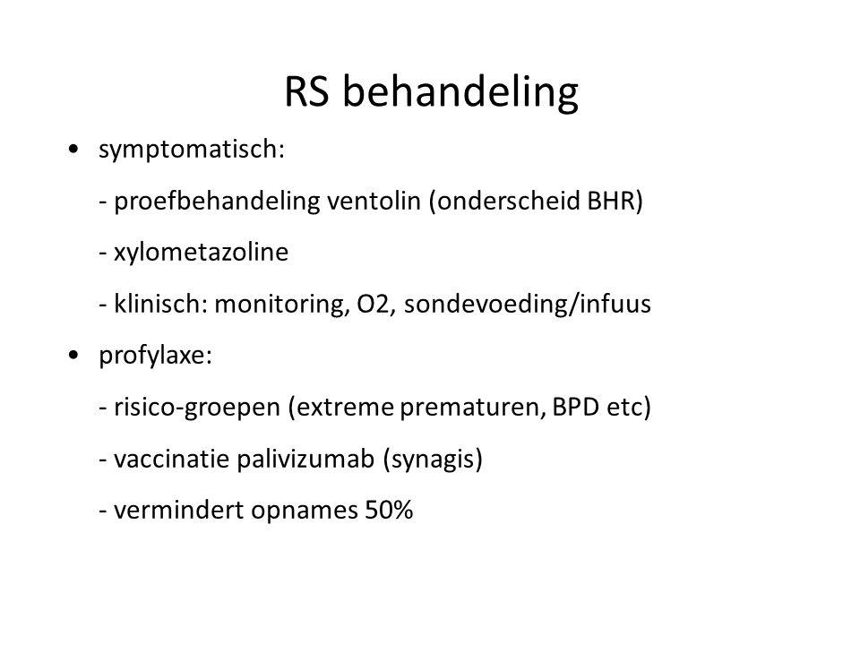 RS behandeling symptomatisch: - proefbehandeling ventolin (onderscheid BHR) - xylometazoline - klinisch: monitoring, O2, sondevoeding/infuus profylaxe
