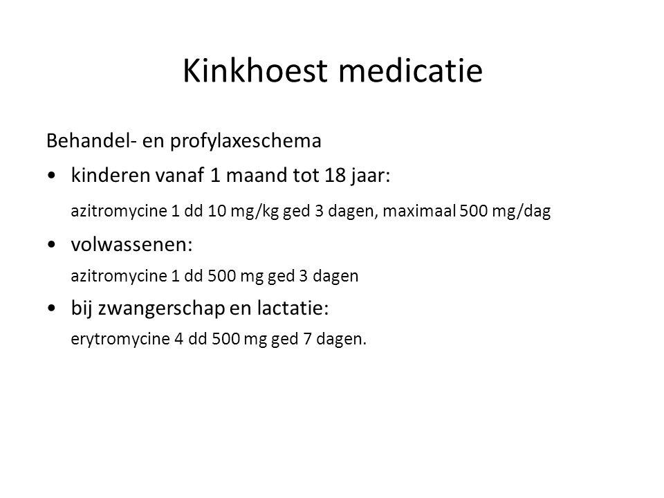 Kinkhoest medicatie Behandel- en profylaxeschema kinderen vanaf 1 maand tot 18 jaar: azitromycine 1 dd 10 mg/kg ged 3 dagen, maximaal 500 mg/dag volwa