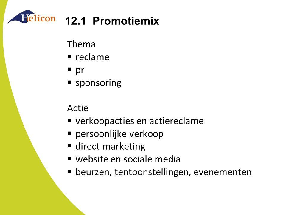 12.1 Promotiemix Thema  reclame  pr  sponsoring Actie  verkoopacties en actiereclame  persoonlijke verkoop  direct marketing  website en social