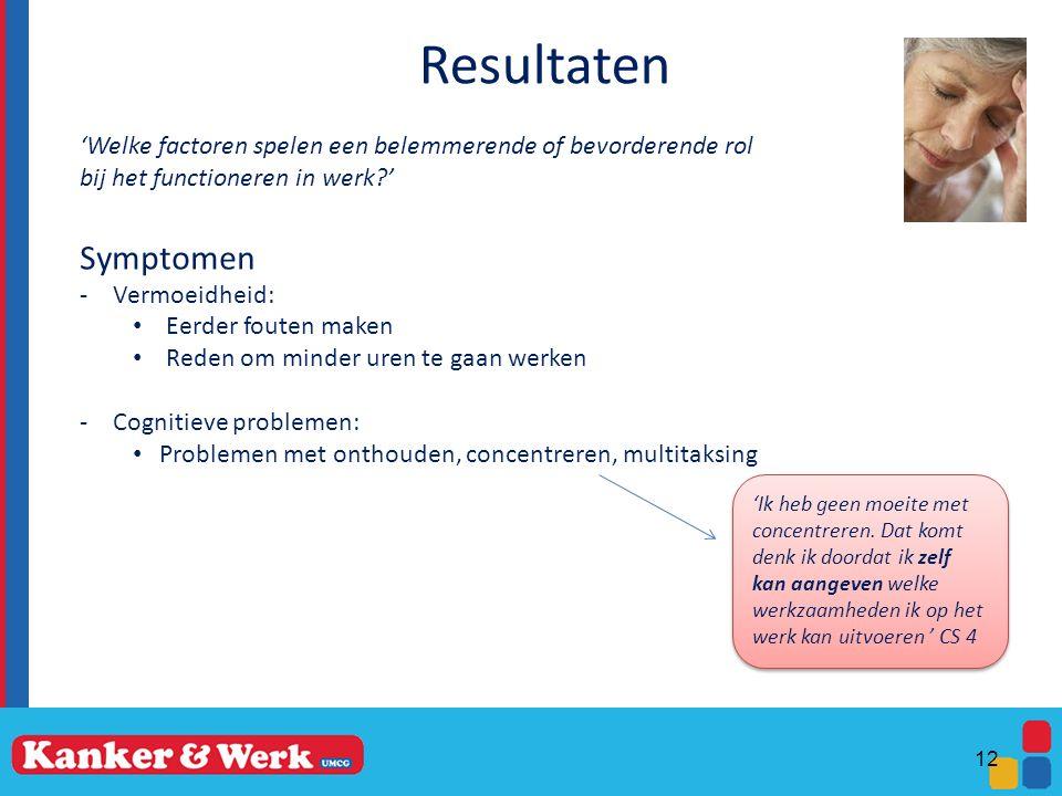 Resultaten 'Welke factoren spelen een belemmerende of bevorderende rol bij het functioneren in werk?' Symptomen -Vermoeidheid: Eerder fouten maken Red
