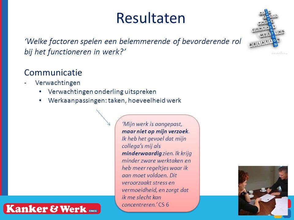 Resultaten 'Welke factoren spelen een belemmerende of bevorderende rol bij het functioneren in werk?' Communicatie -Verwachtingen Verwachtingen onderling uitspreken Werkaanpassingen: taken, hoeveelheid werk 13 'Mijn werk is aangepast, maar niet op mijn verzoek.