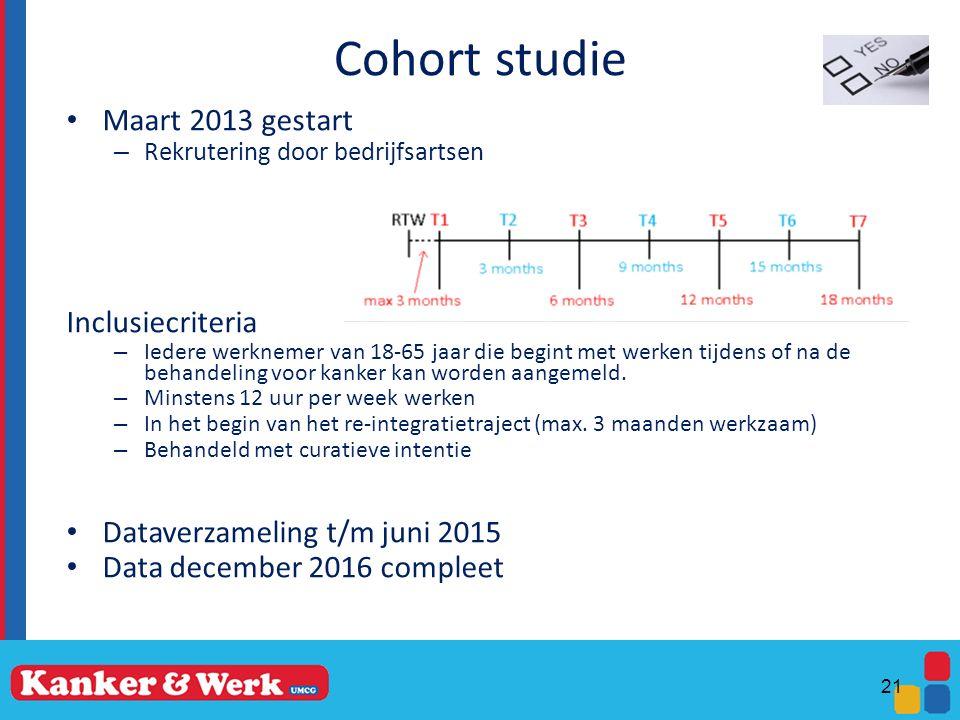 Cohort studie Maart 2013 gestart – Rekrutering door bedrijfsartsen Inclusiecriteria – Iedere werknemer van 18-65 jaar die begint met werken tijdens of na de behandeling voor kanker kan worden aangemeld.