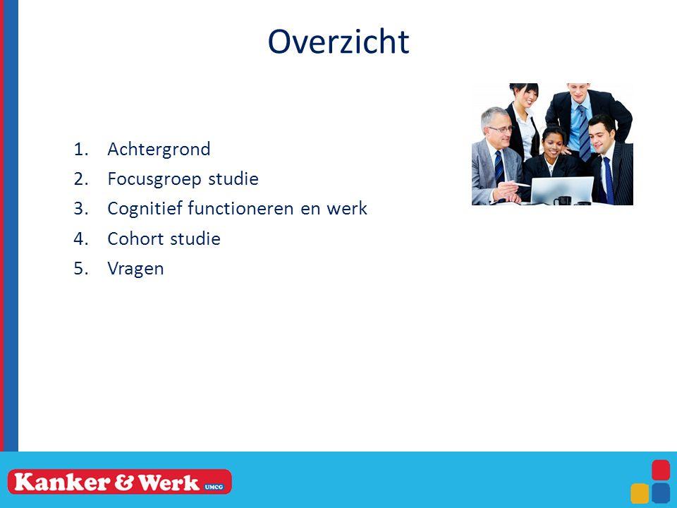 Overzicht 1.Achtergrond 2.Focusgroep studie 3.Cognitief functioneren en werk 4.Cohort studie 5.Vragen
