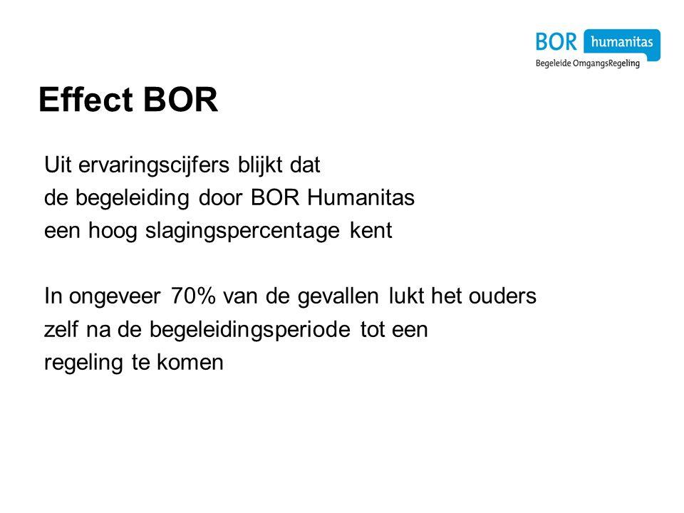 Effect BOR Uit ervaringscijfers blijkt dat de begeleiding door BOR Humanitas een hoog slagingspercentage kent In ongeveer 70% van de gevallen lukt het