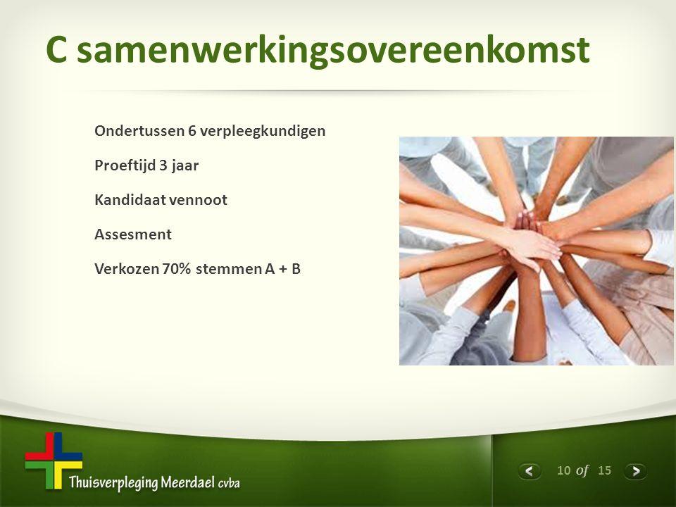10 of 15 C samenwerkingsovereenkomst Ondertussen 6 verpleegkundigen Proeftijd 3 jaar Kandidaat vennoot Assesment Verkozen 70% stemmen A + B