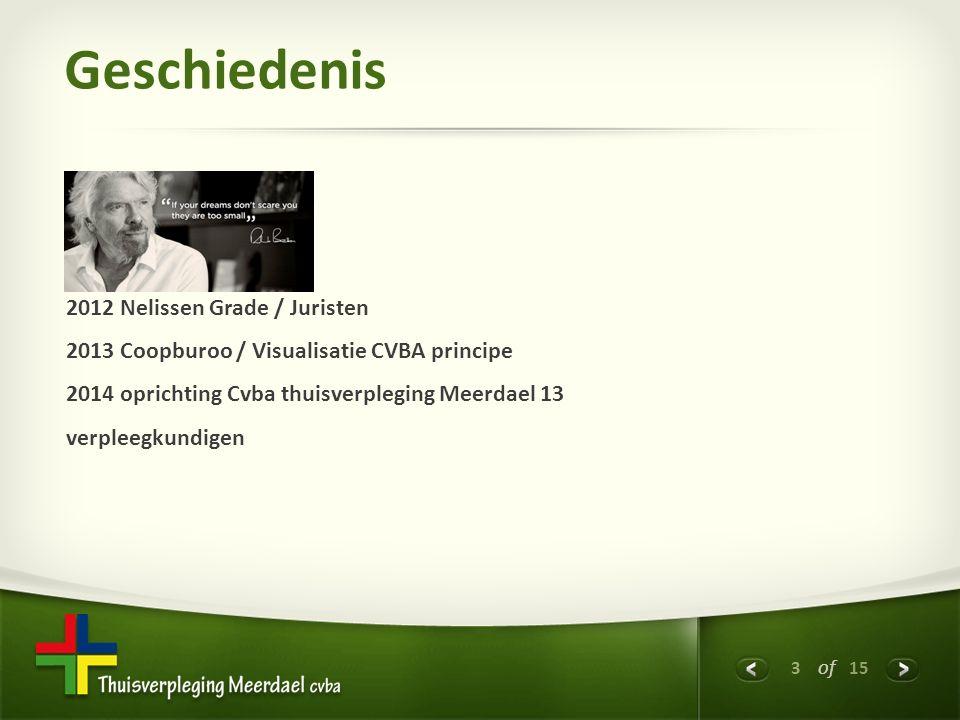3 of 15 Geschiedenis 2012 Nelissen Grade / Juristen 2013 Coopburoo / Visualisatie CVBA principe 2014 oprichting Cvba thuisverpleging Meerdael 13 verpleegkundigen