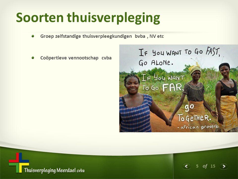 5 of 15 Soorten thuisverpleging Groep zelfstandige thuisverpleegkundigen bvba, NV etc Coöpertieve vennootschap cvba