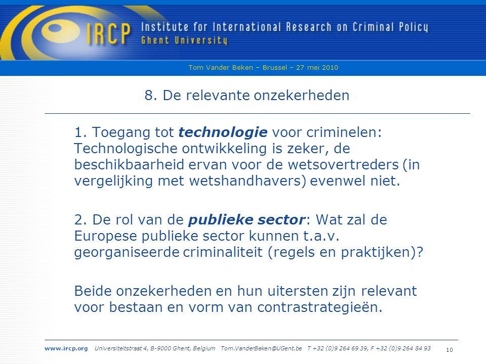 www.ircp.org Universiteitstraat 4, B-9000 Ghent, Belgium Tom.VanderBeken@UGent.be T +32 (0)9 264 69 39, F +32 (0)9 264 84 93 Tom Vander Beken – Brussel – 27 mei 2010 10 8.