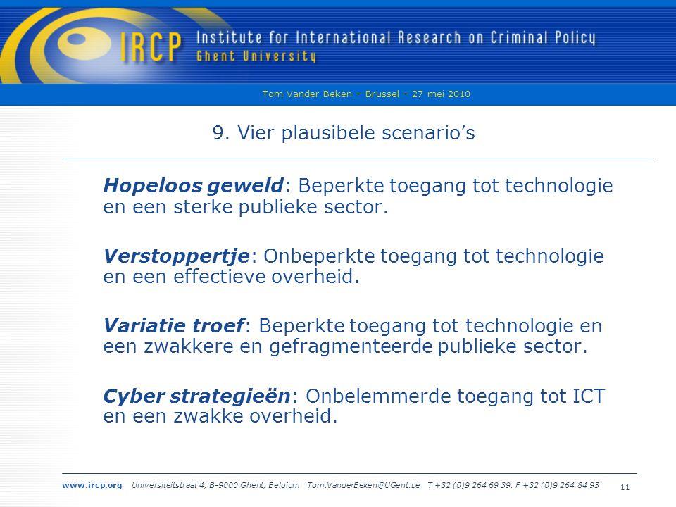 www.ircp.org Universiteitstraat 4, B-9000 Ghent, Belgium Tom.VanderBeken@UGent.be T +32 (0)9 264 69 39, F +32 (0)9 264 84 93 Tom Vander Beken – Brussel – 27 mei 2010 11 9.