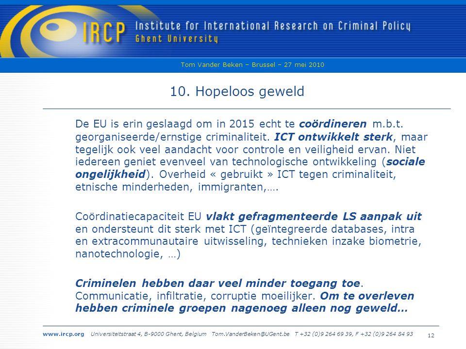 www.ircp.org Universiteitstraat 4, B-9000 Ghent, Belgium Tom.VanderBeken@UGent.be T +32 (0)9 264 69 39, F +32 (0)9 264 84 93 Tom Vander Beken – Brussel – 27 mei 2010 12 10.