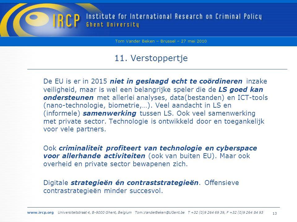 www.ircp.org Universiteitstraat 4, B-9000 Ghent, Belgium Tom.VanderBeken@UGent.be T +32 (0)9 264 69 39, F +32 (0)9 264 84 93 Tom Vander Beken – Brussel – 27 mei 2010 13 11.