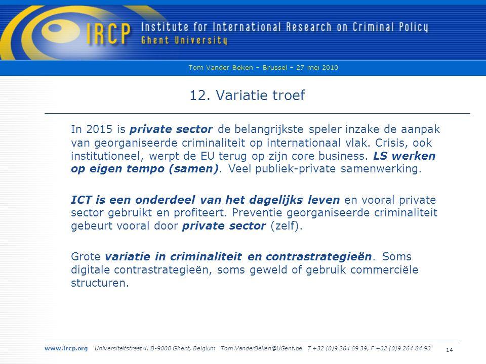 www.ircp.org Universiteitstraat 4, B-9000 Ghent, Belgium Tom.VanderBeken@UGent.be T +32 (0)9 264 69 39, F +32 (0)9 264 84 93 Tom Vander Beken – Brussel – 27 mei 2010 14 12.