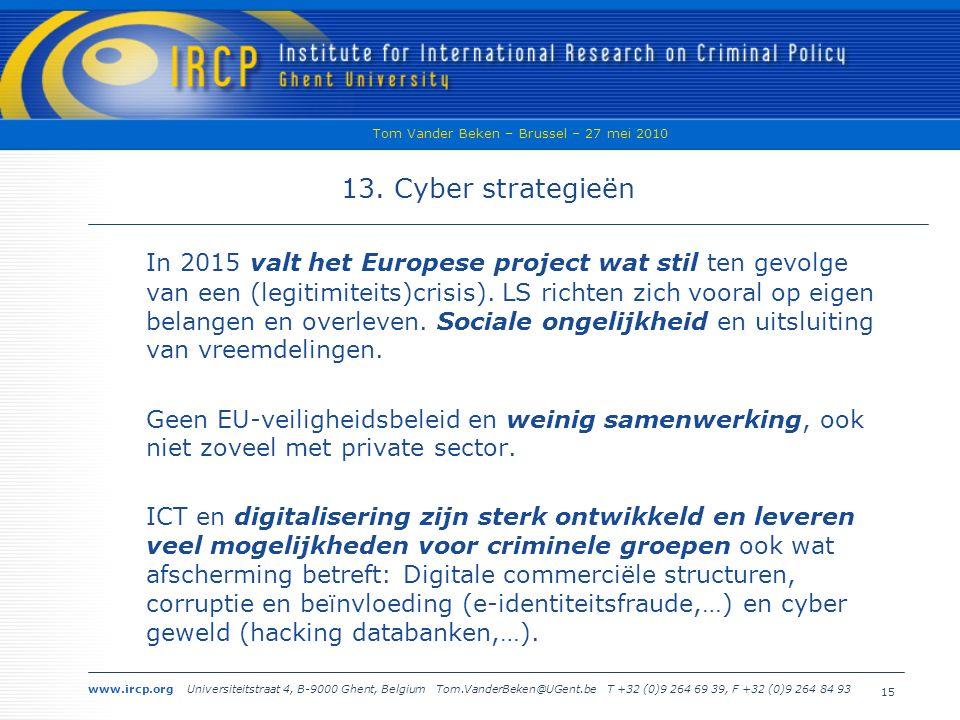 www.ircp.org Universiteitstraat 4, B-9000 Ghent, Belgium Tom.VanderBeken@UGent.be T +32 (0)9 264 69 39, F +32 (0)9 264 84 93 Tom Vander Beken – Brussel – 27 mei 2010 15 13.