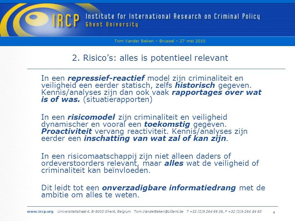www.ircp.org Universiteitstraat 4, B-9000 Ghent, Belgium Tom.VanderBeken@UGent.be T +32 (0)9 264 69 39, F +32 (0)9 264 84 93 Tom Vander Beken – Brussel – 27 mei 2010 4 2.