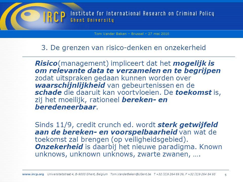 www.ircp.org Universiteitstraat 4, B-9000 Ghent, Belgium Tom.VanderBeken@UGent.be T +32 (0)9 264 69 39, F +32 (0)9 264 84 93 Tom Vander Beken – Brussel – 27 mei 2010 5 3.