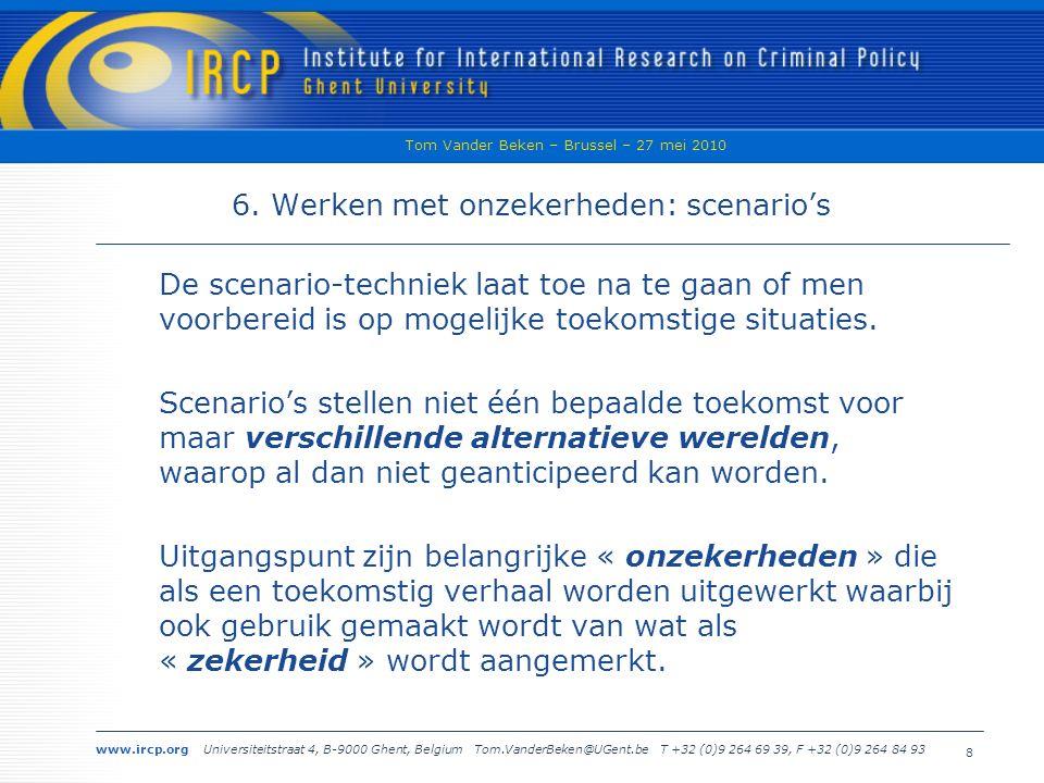 www.ircp.org Universiteitstraat 4, B-9000 Ghent, Belgium Tom.VanderBeken@UGent.be T +32 (0)9 264 69 39, F +32 (0)9 264 84 93 Tom Vander Beken – Brussel – 27 mei 2010 8 6.