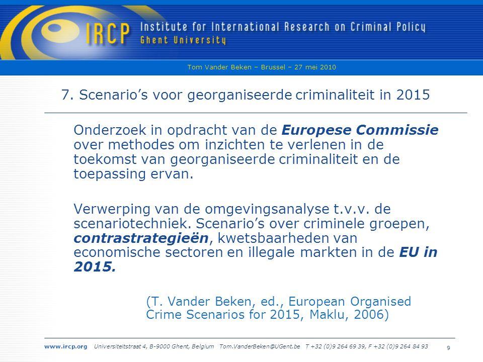 www.ircp.org Universiteitstraat 4, B-9000 Ghent, Belgium Tom.VanderBeken@UGent.be T +32 (0)9 264 69 39, F +32 (0)9 264 84 93 Tom Vander Beken – Brussel – 27 mei 2010 9 7.