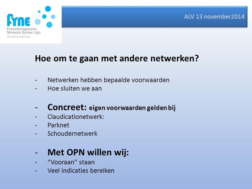 ALV 13 november2014 Hoe om te gaan met andere netwerken.